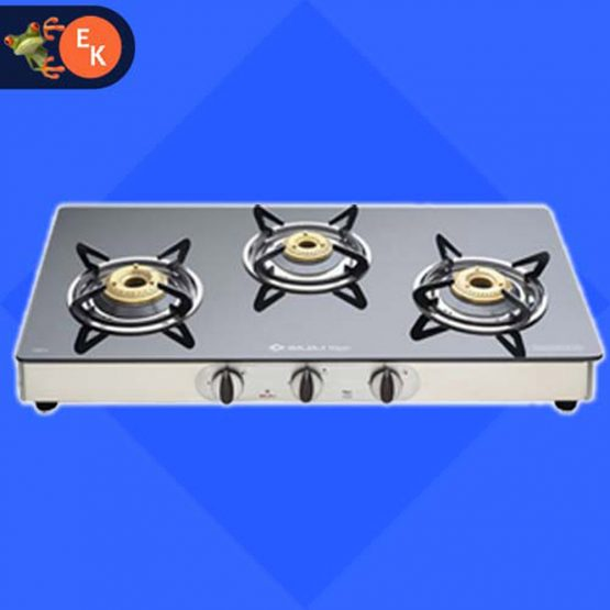 Bajaj Majesty CGX-3 Glass Top 3 Burner SS